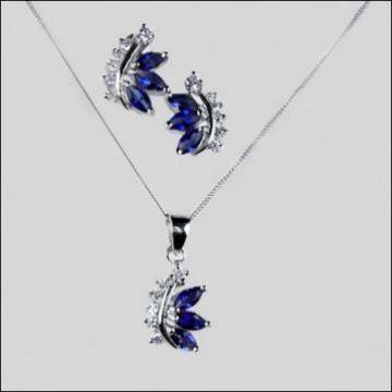 Set bijuterii argint cu pietre cubic zirconia albastre, albe