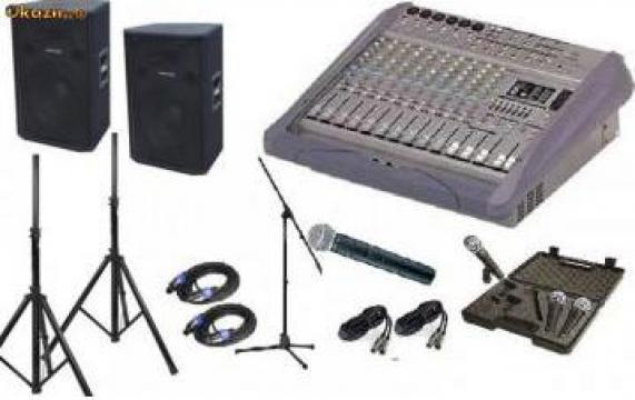 Mixer audio cu putere incorporat, boxe studio M, microfoane