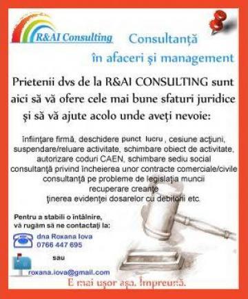 Infiintare firma Oradea si Cluj-Napoca de la R&AI Consulting