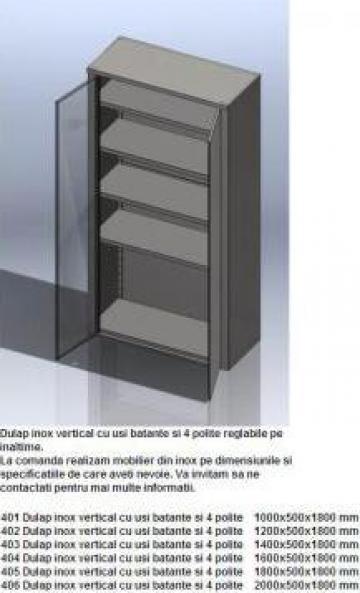 Dulap inox vertical cu usi batante si 4 polite de la Inox Production Line