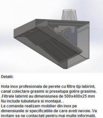 Hota inox profesionala de perete