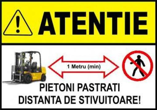 Sticker autocolant Atentie pastrati distanta de stivuitoare de la Prof Design & It Solution Srl