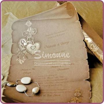 Invitatii nunta papirus in cutie de la Simonne