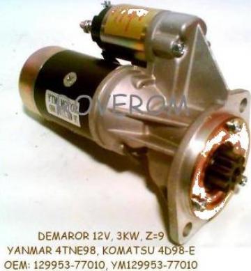 Demaror (12V, 3KW, Z=9) Yanmar 4TNE98, 4TNE106, Komatsu