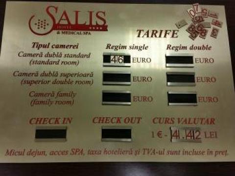 Tarifar din ABS (auriu/rosu) pentru hoteluri si pensiuni