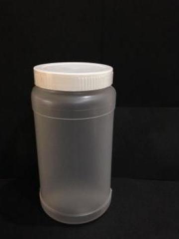 Borcan transparent/alb 500ml cu capac fi 66 alb/galben de la Vanmar Impex Srl