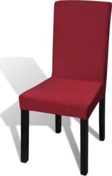 Husa elastica pentru scaun, culoare bordeaux, set 6 bucati de la Vidaxl