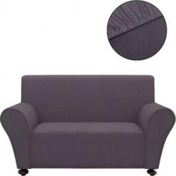 Husa elastica canapea din poliester jerse, antracit