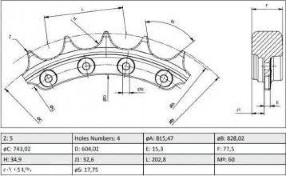 Roata motrica - sprocket 3S9983 Caterpillar D6C