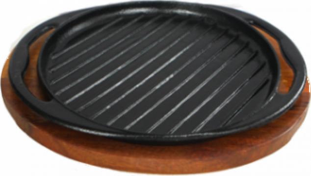 Grill fonta Etno 30,5x25cm, cu suport lemn de la Basarom Com