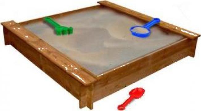 Cutie de nisip patrata pentru copii, lemn de la Vidaxl