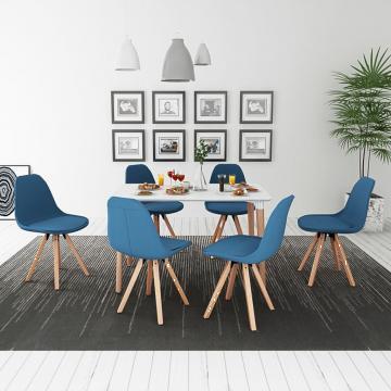 Set de masa cu scaune, 7 piese, alb si albastru de la Vidaxl