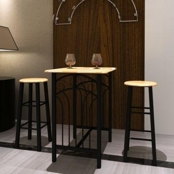 Set masa si scaune, lemn cafeniu si otel, negru de la Vidaxl