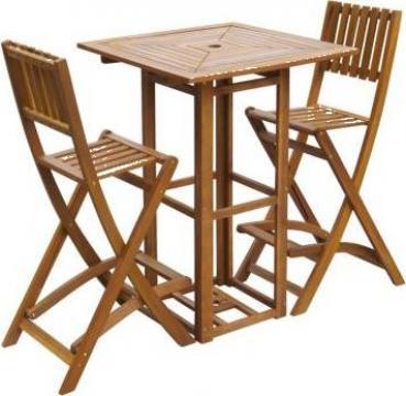 Set mobilier de exterior cu bar, 3 piese, lemn acacia de la Vidaxl