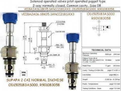 Supapa hidraulica Bosch Rexroth OD1505183AS000, R901083058 de la Roverom Srl