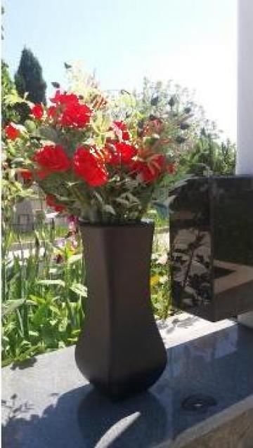 Vaza flori metalica pentru cimitir, aluminiu negru mat de la Autosenna Srl
