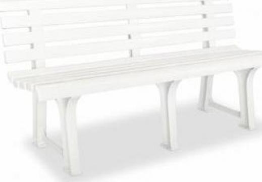 Banca de gradina 145,5x49x74 cm, plastic, alb