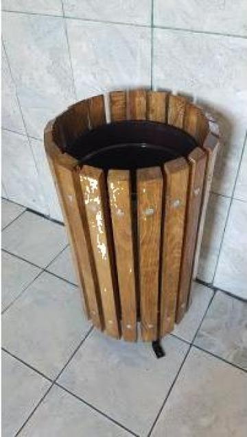 Cos de gunoi cu sipci din fag + recipient metalic de la Ygrocris Dorally Steel Srl