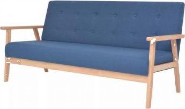 Canapea de 3 persoane, textil, albastru de la Vidaxl