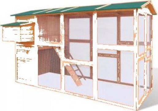 Cotet din lemn pentru gaini 295 x 163 x 170 cm