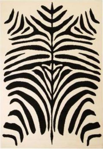 Covor modern cu design zebra, 160 x 230 cm, bej/negru