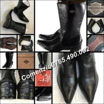 Ciocate negre dama piele naturala, cizme Harley Davidson de la Cieaura