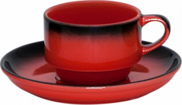 Ceasca cu farfurioara Gural colectia Marmaris-Black/Red 230m de la Basarom Com