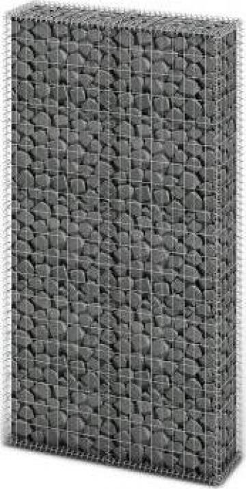 Cos gabion din otel, 85 x 30 x 200 cm, argintiu