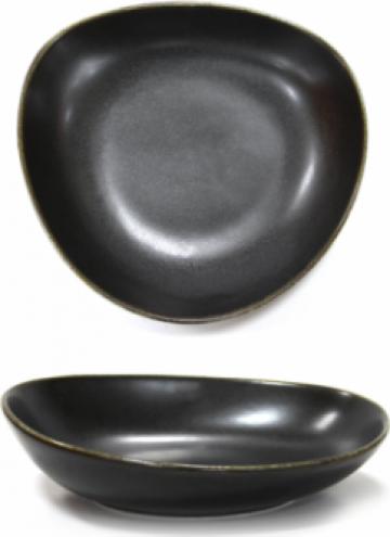 Farfurie portelan adanca pentru supa Antique Black 23cm de la Basarom Com