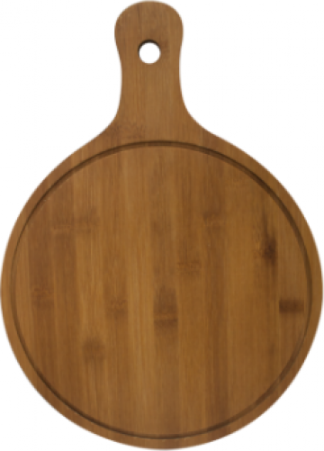 Platou rotund servire pizza cu maner din lemn Raki 26xh1,2cm de la Basarom Com