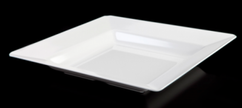 Farfurie adanca patrata melamina Raki Este 46x46x6,8cm alb de la Basarom Com