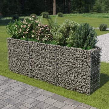 Jardiniera gabion, otel galvanizat, 270 x 50 x 100 cm