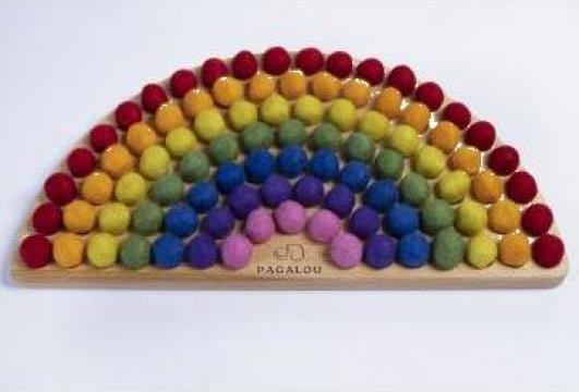 Joc Curcubeu Montessori de sortare si potrivire a culorilor de la Pagalou Toys