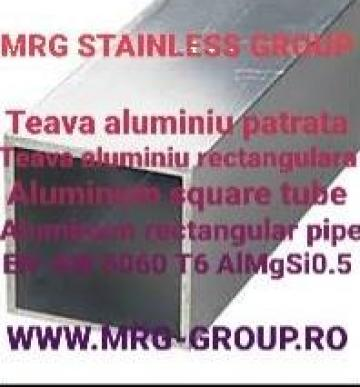 Teava aluminiu patrata 100x100x4 rectangulara EN-AW 6060 T6 de la MRG Stainless Group Srl