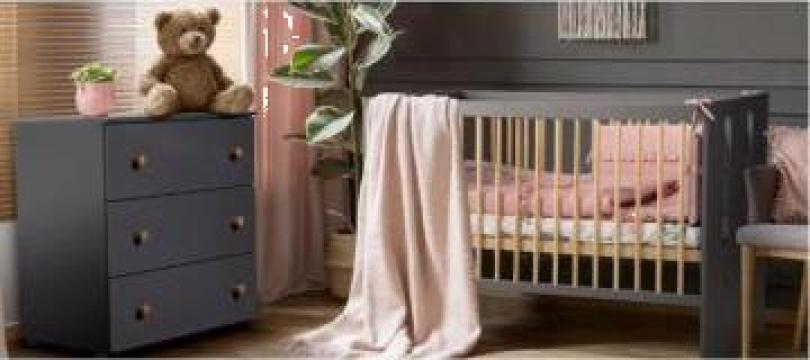 Mobilier camera copii si bebelusi Klups Paula Grafit Natur de la Ivenik Concept Srl