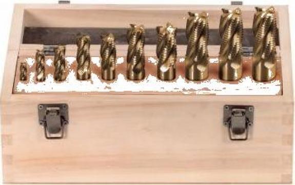 Set 10 freze cilindrice frontale 6-25 mm F001/10 de la Proma Machinery Srl.