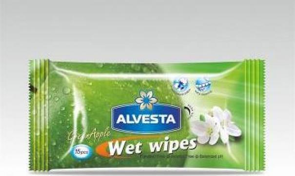 Servetele umede Alvesta Green Apple 15 buc/pachet de la Cristian Food Industry Srl.
