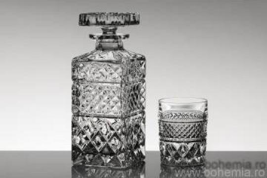Set 6 pahare si sticla whisky, Cristal Bohemia - Madison de la Omnicom 2000 Srl