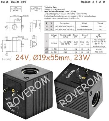 Bobina 24V, d19x55mm, 23W, electrovalva hidraulica de la Roverom Srl