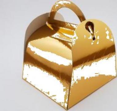 Cutie aurie prajituri 12x12x12,5cm 25 buc/set de la Cristian Food Industry Srl.