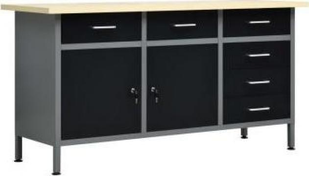 Banc de lucru, negru, 160 x 60 x 85 cm, otel