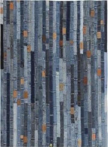 Covor petice jeans 80x150 cm Albastru denim de la Vidaxl
