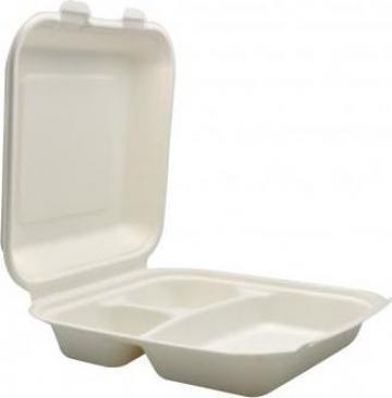 Caserola biodegradabila meniu 3 compartimente 250 buc/bax de la Cristian Food Industry Srl.