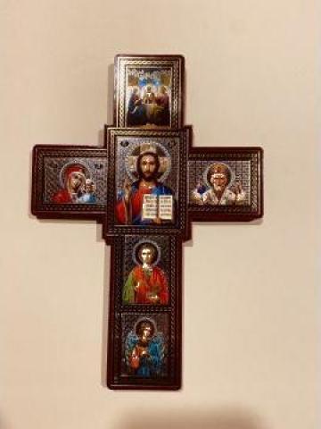 Cruce perete Sfanta cruce / 6 icoane 18.8cm de la Candela Criscom Srl.