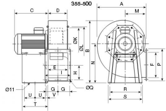 Ventilator centrifugal 400 grd CHMT/4- 400/165-4 de la Ventdepot Srl
