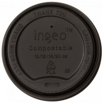 Capac bio, negru, bauturi calde, CPLA, 90 mm (50 buc/pac)