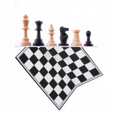 Set piese plastic sah Staunton 6 (weighted) si tabla carton de la Chess Events Srl