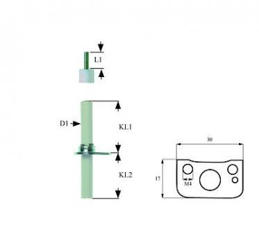 Electrod aprindere lungime flansa 30mm, 102882
