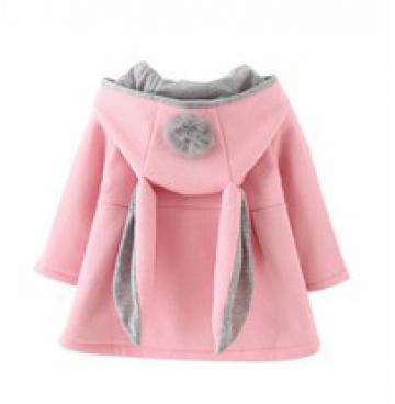 Jacheta cu gluga si urechi iepuras, roz cu gri de la A&P Collections Online Srl-d