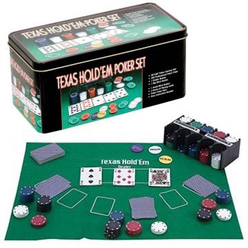 Poker cu 200 chips poker in cutie metalica, buton dealer